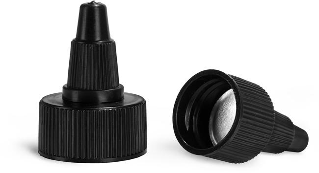 Dispensing Caps, Black Induction Lined Twist Top Caps