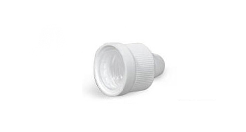 15/415 White Plastic Caps, Ribbed Polypro Child Resistant Dropper Tip Caps