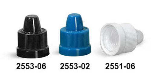 Child Resistant Caps, Ribbed Polypropylene Child Resistant Caps w/ Dropper Tips