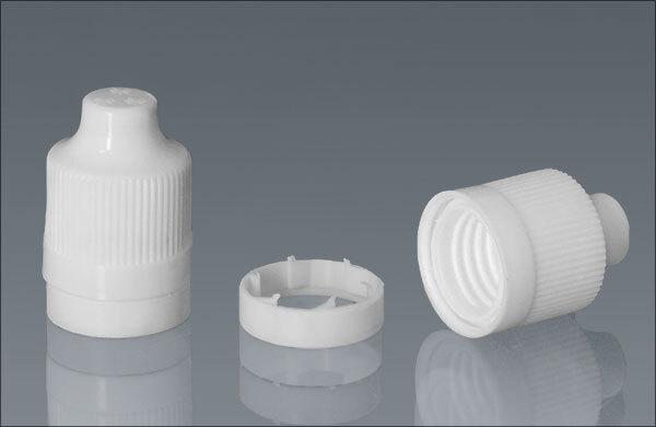Plastic Caps, White Ribbed Polypro Child Resistant Tamper Evident Dropper Tip Caps