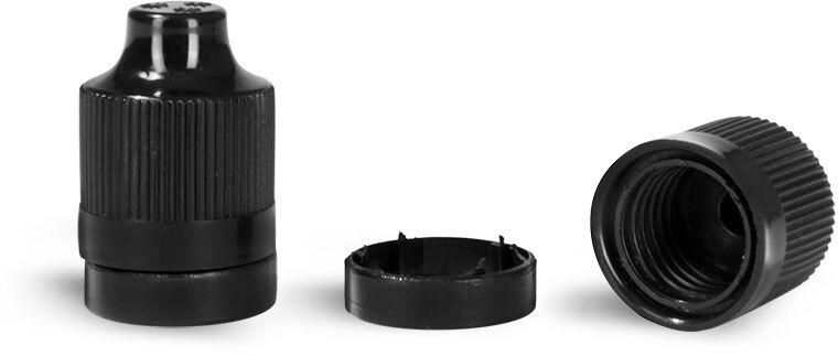 Plastic Caps, Black Ribbed Child Resistant Tamper Evident Dropper Tip Caps