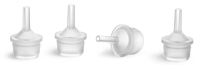 Dispensing Caps, Natural LDPE Controlled Thin Tip Dropper Plugs