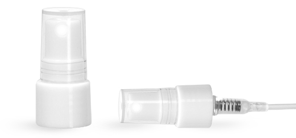12 mm, 13 mm tube Mist Sprayer, White PP Smooth Fine Mist Sprayers w/ Clear Styrene Hoods