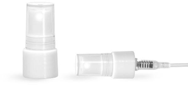 Mist Sprayer, White PP Smooth Fine Mist Sprayers w/ Clear Styrene Hoods
