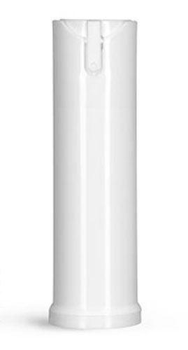 Polypropylene Plastic Bottles, White Cylinder Bottles w/ Child Resistant Sprayers & Plugs