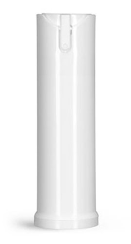 Plastic Bottles, White Polypropylene Cylinder Bottles w/ Child Resistant Sprayers & Plugs