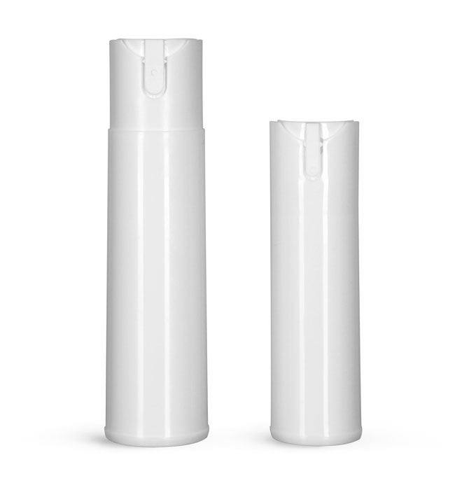 Polypropylene Plastic Bottles, White Cylinder Bottles w/ Child Resistant Sprayers (Bulk), Caps NOT Included