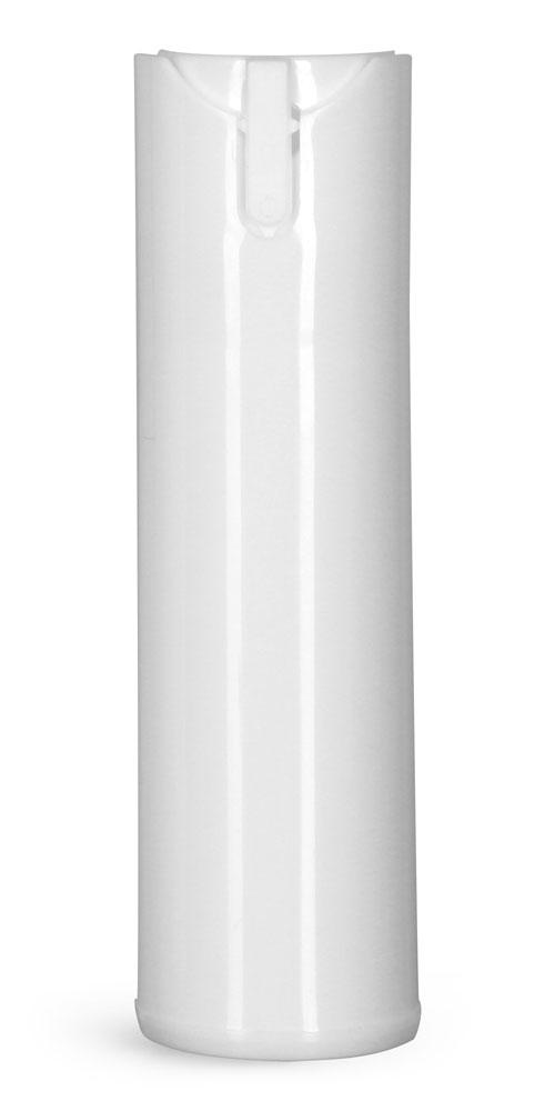 0.5 oz Plastic Bottles, White Polypropylene Child Resistant Sprayers (Bulk), Caps NOT Included