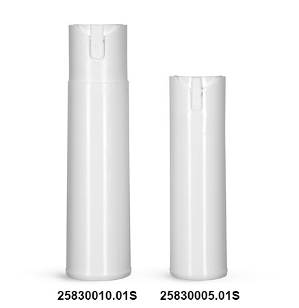 Plastic Bottles, White Polypropylene Cylinder Bottles w/ Child Resistant Sprayers (Bulk), Caps NOT Included