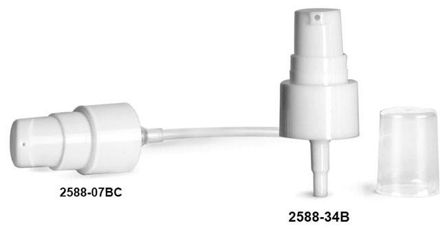 Treatment Pumps, Smooth White Treatment Pumps w/ Clear Styrene Hoods