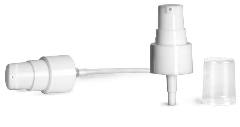 20/410, 3 inch tube  Treatment Pumps, Smooth White Treatment Pumps w/ Clear Styrene Hood
