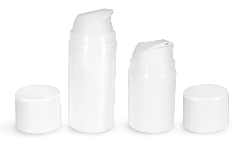 Plastic Bottles, White Polypropylene Airless Pump Bottles w/ White Caps