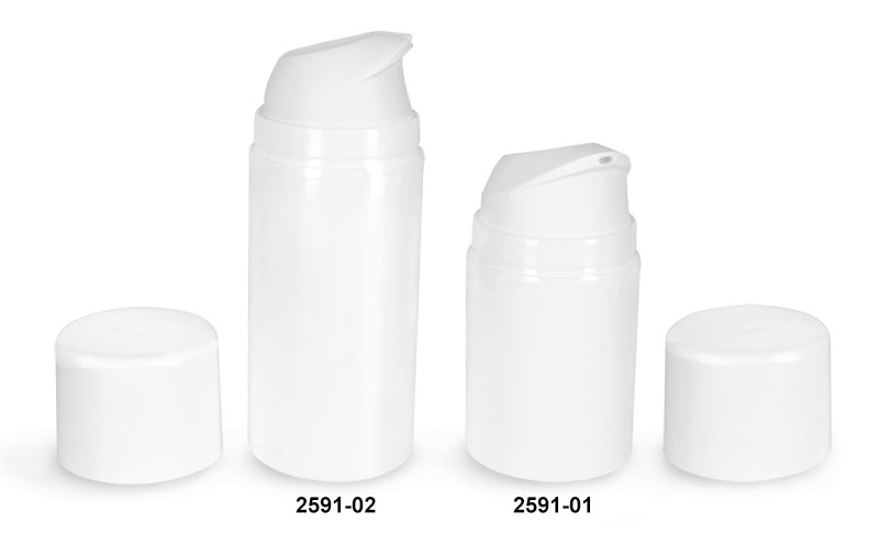 Plastic Bottles, White Polypropylene Airless Pump Bottles w/ White Pumps & Caps