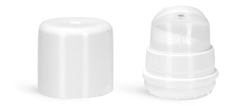 Airless Pumps, White Polypropylene Airless Pumps w/ White Snap On Overcaps