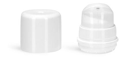 Plastic Pumps, 32 mm White Polypropylene Mini Airless Pumps w/ Snap On Caps & Overcaps