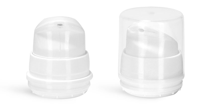 Airless Pumps, White Polypropylene Airless Pumps w/ Clear Snap On Overcaps