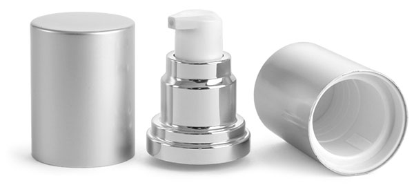Airless Pumps, Silver Airless Pumps w/ Silver Caps