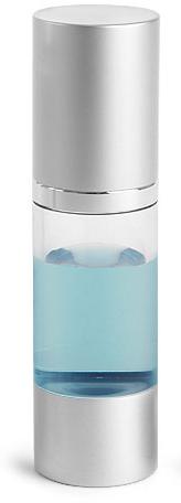 Styrene Plastic Bottles, Clear Airless Pump Bottles w/ Silver Pumps & Caps