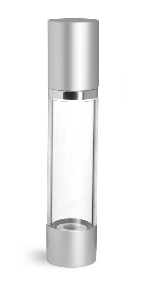 Styrene Plastic Bottles, Clear Airless Pump Bottles w/ Silver Pumps & Caps
