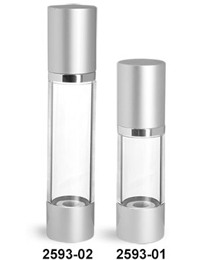 Plastic Bottles, Clear AS Airless Pump Bottles w/ Silver Pumps & Caps