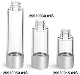 Plastic Bottles, Clear AS Airless Pump Bottles (Bulk), Pumps & Caps NOT Included