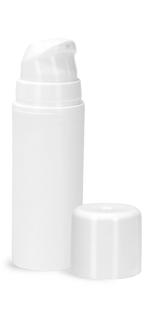 30 ml Plastic Bottles, White Polypropylene Mini Airless Pump Bottles w/ Pumps, Snap Caps, & Overcaps
