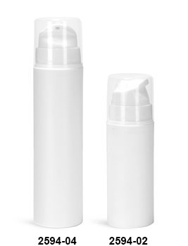 Plastic Bottles, White Polypropylene Airless Pump Bottles w/ White Pumps & Clear Overcaps