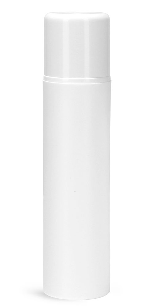 Plastic Bottles, White Polypropylene Mini Airless Pump Bottles w/ White Pumps & White Overcaps