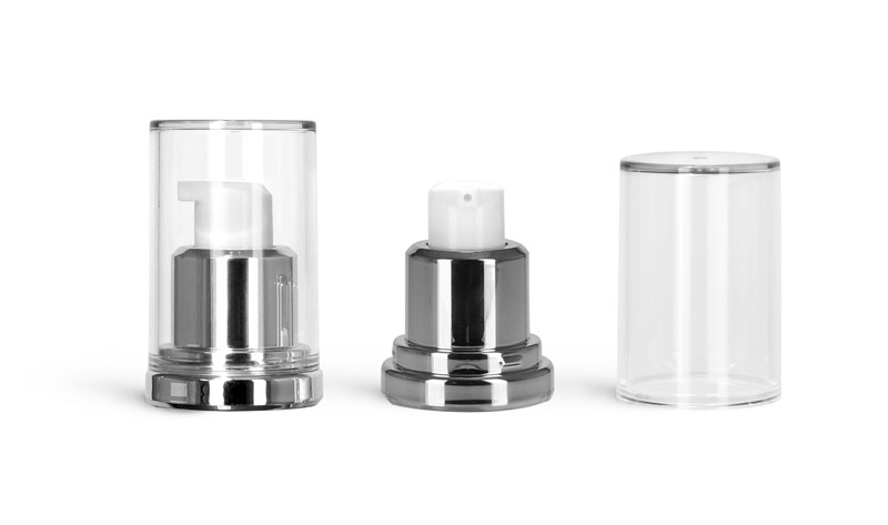 Airless Pumps, Silver Airless Pumps w/ Clear Caps