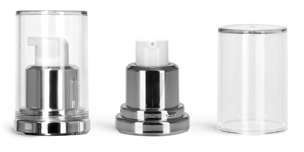 Plastic Pumps, Silver Airless Pumps w/ Clear Caps