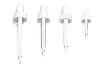 Glass Droppers, White Bulb Glass Droppers