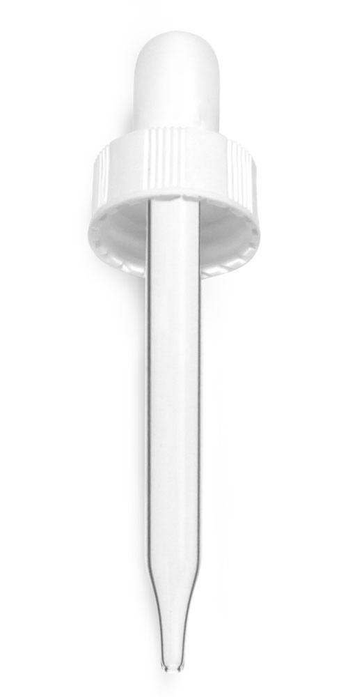 20/400  (7 mm x 75 mm)  Glass Droppers, White Bulb Glass Droppers