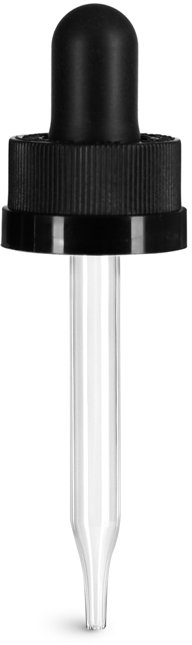 Black Child Resistant Bulb Glass Droppers