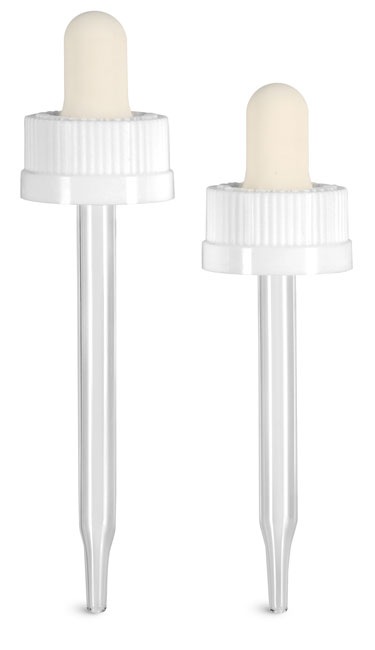 Child Resistant Caps, White Child Resistant Droppers w/ Glass Pipettes