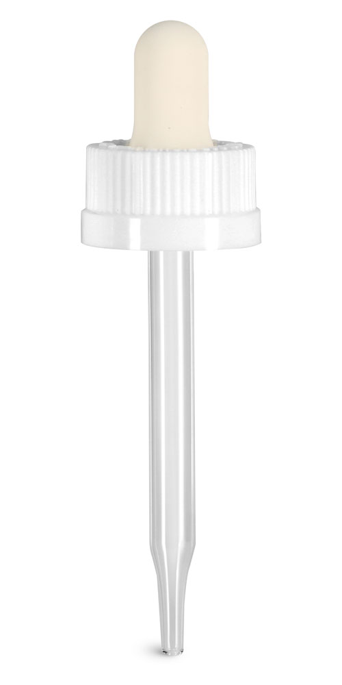 20/400 (7 mm x 76 mm) Glass Droppers, White Child Resistant Bulb Glass Droppers
