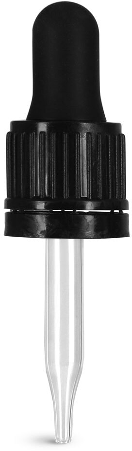 Glass Droppers, Black Bulb Glass Droppers w/ Tamper Evident Seal