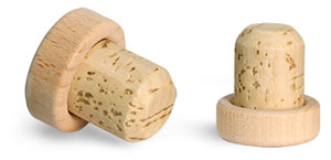 Cork Stoppers, Round Wood Bar Tops w/ Natural Corks