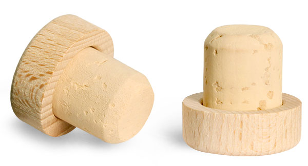 Cork Stoppers, Round Wood Bar Tops w/ Colmated Corks