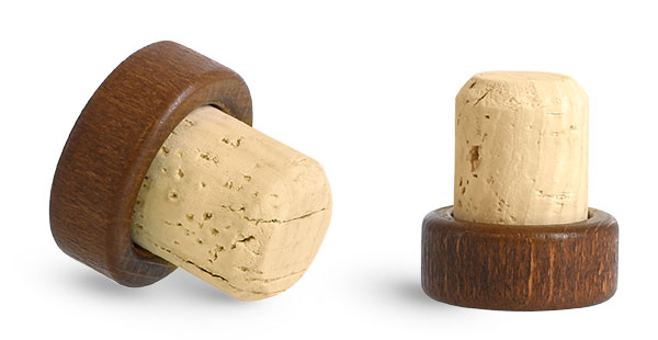 29 mm Cork Stoppers, Stained Wood Bar Tops w/ Natural Corks