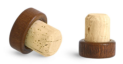 Cork Stoppers, Stained Wood Bar Tops w/ Natural Corks