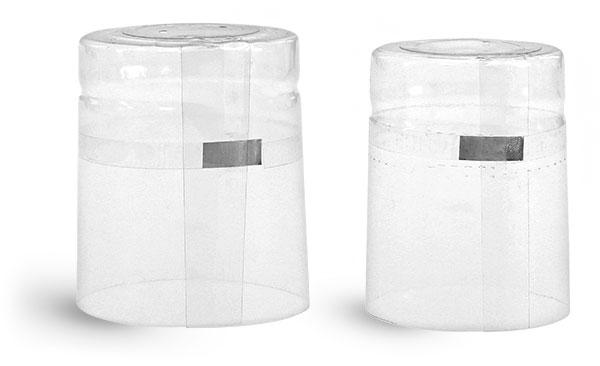 Capsules, Clear PVC Heat-Shrink Capsules w/ Silver Tear Tab