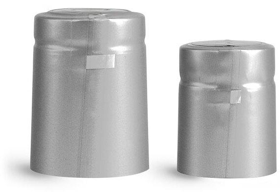 Capsules, Matte Silver PVC Heat-Shrink Capsules w/ Silver Tear Tab