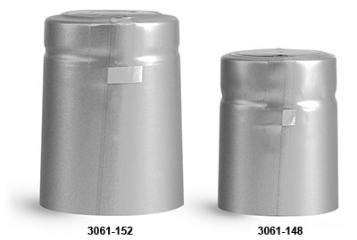 Capsules, Matte Silver PVC Heat-Shrink Capsules w/ Silver Tear Tab