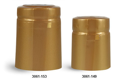 Capsules, Matte Gold PVC Heat-Shrink Capsules w/ Gold Tear Tabs