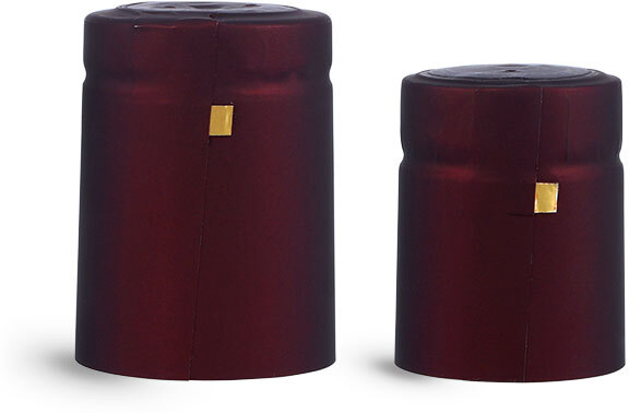 Capsules, Matte Burgundy PVC Heat-Shrink Capsules w/ Gold Tear Tabs