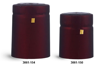 Capsules, Matte Burgundy PVC Heat-Shrink Capsules w/ Gold Tear Tabs