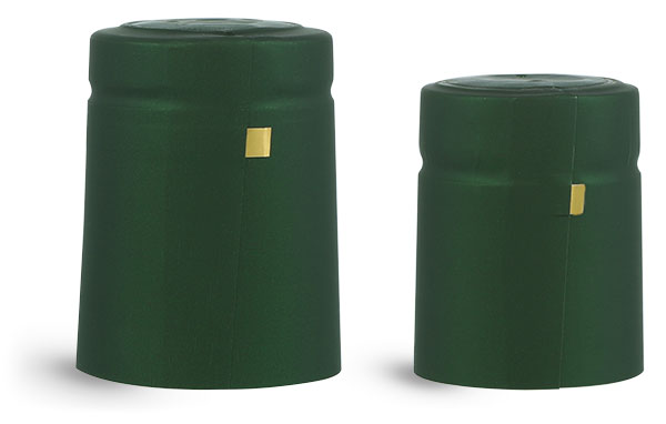 Capsules, Matte Green PVC Heat-Shrink Capsules w/ Gold Tear Tabs