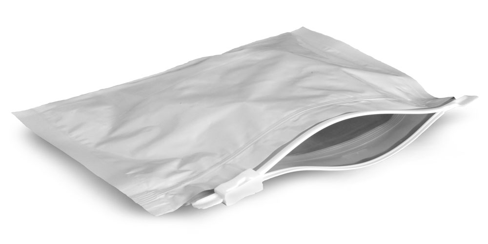 Plastic Bags, 8.5 in x 6 in White Child Resistant Reclosable Pouch