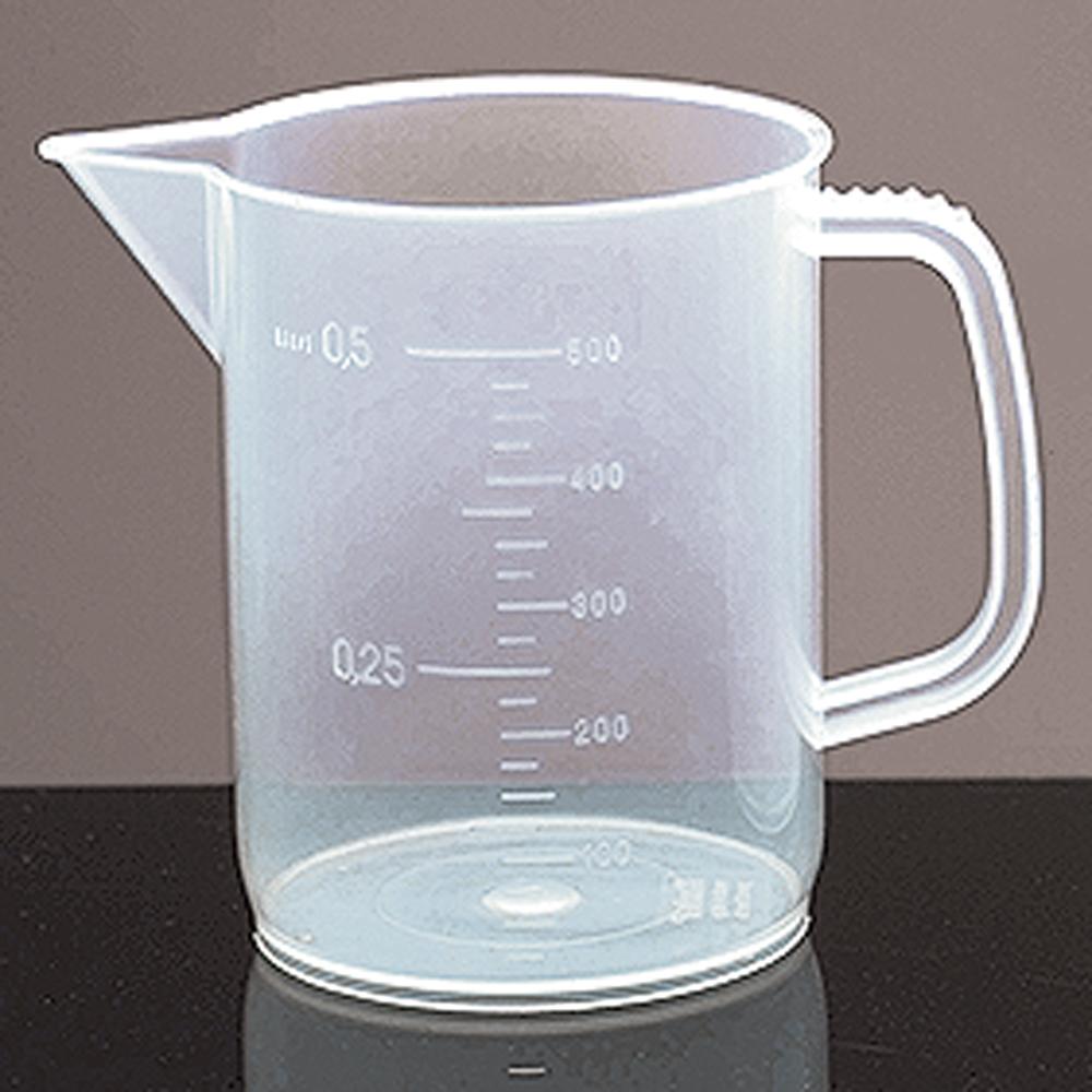 500 ml Low Form Polypropylene Plastic Beakers w/ Handles