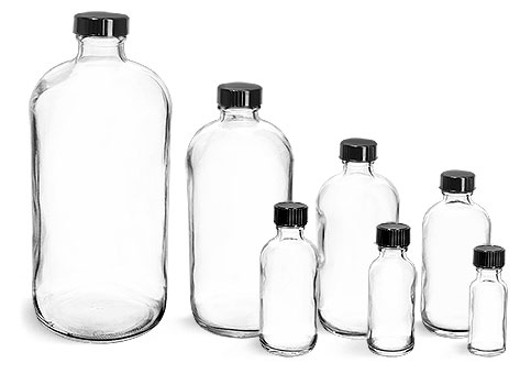 Glass Bottles, Clear Glass Rounds with Black Phenolic Cone Lined Caps